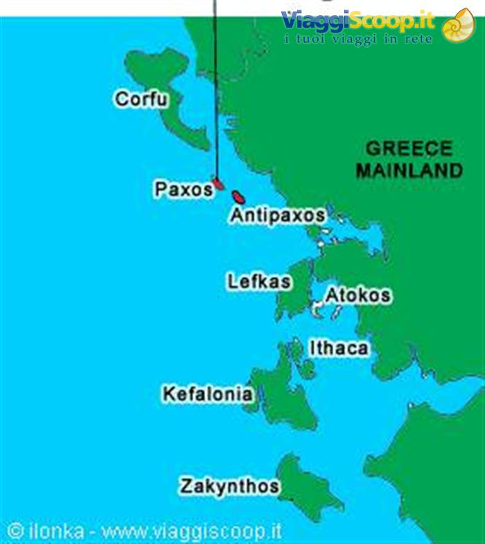 Paxos Cartina Geografica.L Isola Dei Non Famosi Grecia