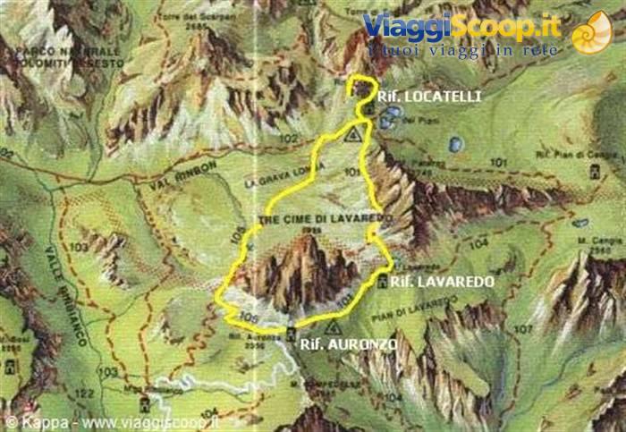 Cartina 3 Cime Di Lavaredo.Foto Mappa Del Giro Delle Tre Cime Di Lavaredo Italia