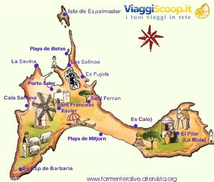 Cartina Geografica Spagna E Formentera.Foto Mappa Di Formentera Spagna